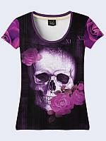 Женсая футболка Череп и сиреневые розы