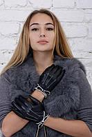 Женские кожаные перчатки Черный