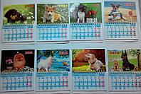 Магнит календарь на холодильник  Год собаки 2018 большой размер 13*16 см микс