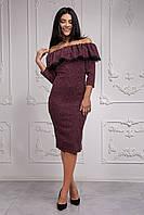 Молодежное бордовое платье с рюшей, фото 1