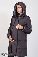 Зимнее теплое пальто для беременных ANGIE графитовое, фото 1