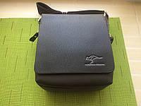 Мужская кожаная сумка через плечо Kangaroo, (черная)