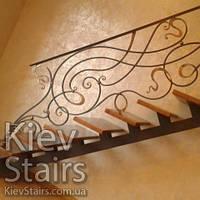 Кованые перила на прямую пристенную лестницу на монокосоуре