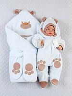 """Зимний комплект на выписку для новорожденного """" Мишка-лапки"""" Белый"""