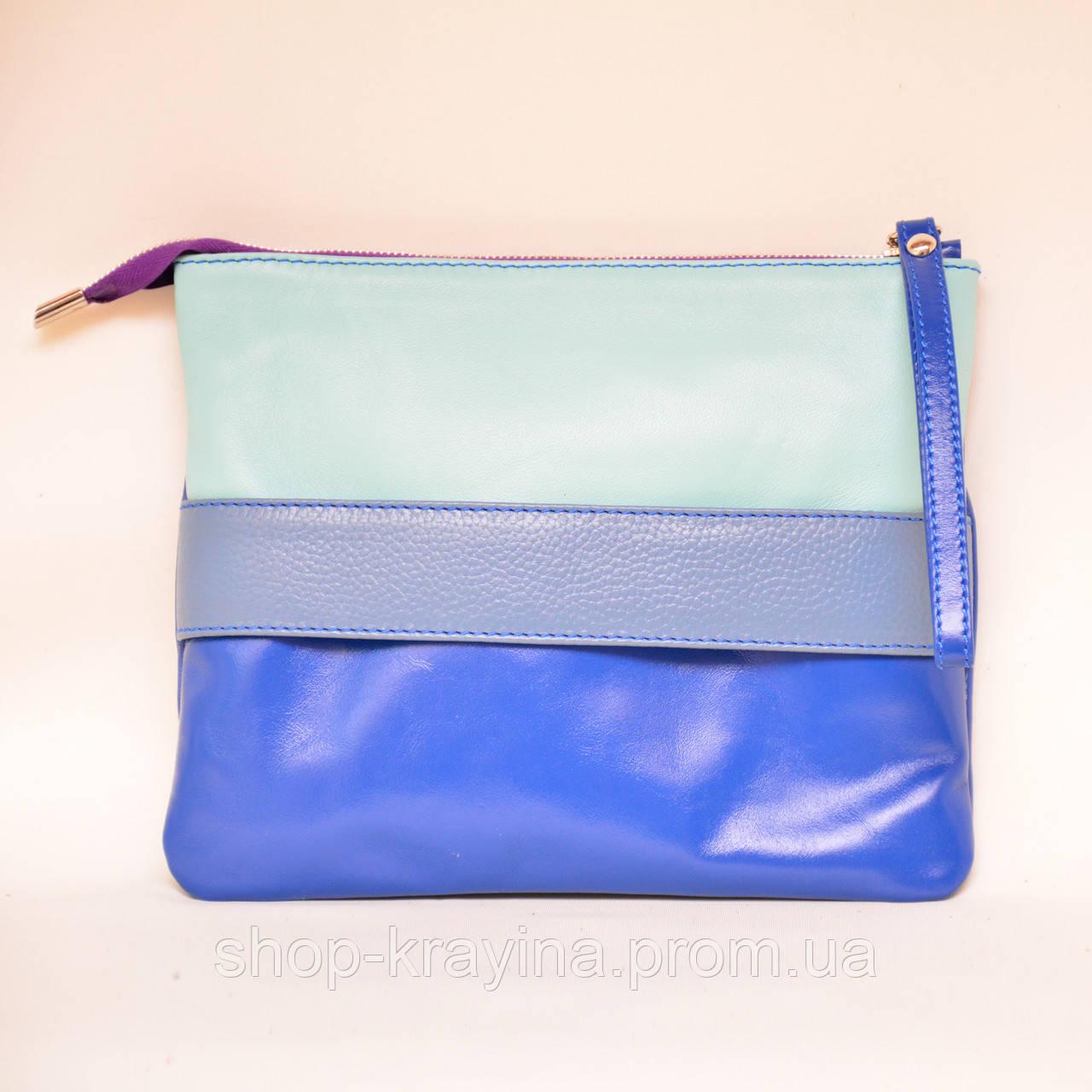 Кожаный клатч VS134 blue grey 24х20 см