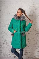 Зимнее пальто Helena на силиконе с меховыми помпонами Размеры 42- 46 Helena Изумруд