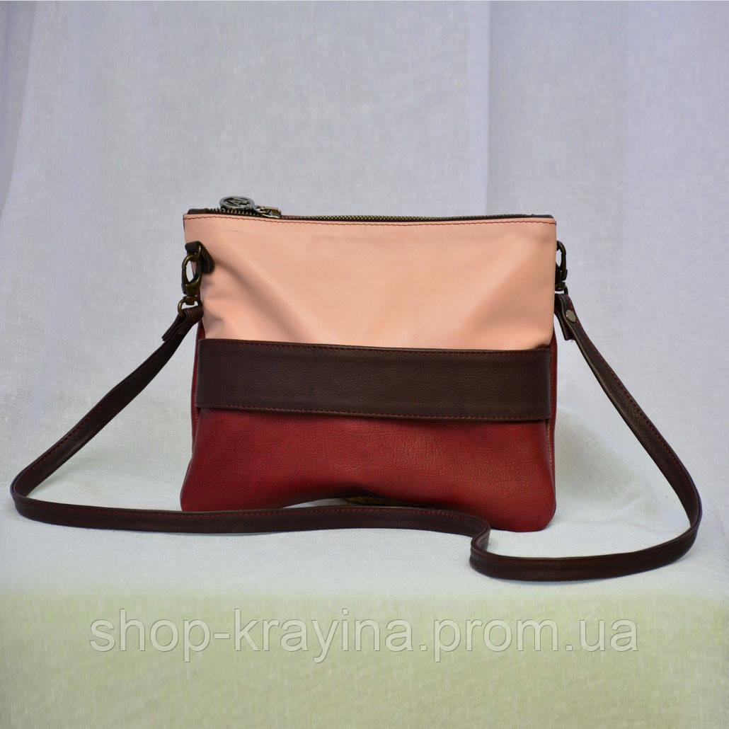 Кожаный клатч VS134 beige red 23х18 см
