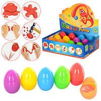 Жвачка для рук для лепки, 6 цветов, 12 шт в дисплее, в пластиковом яйце, в дисплее