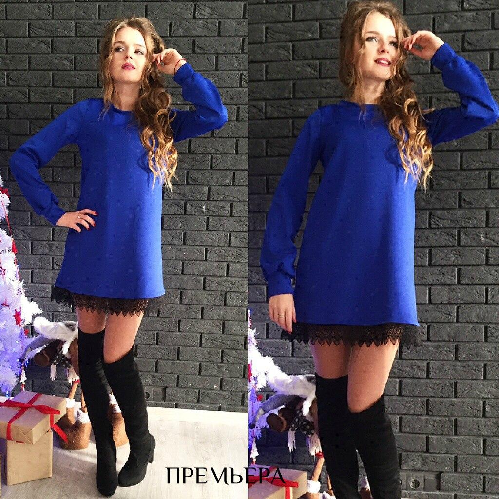 Короткое стильное платье с кружевом по низу.