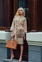 Пальто из кашемира скарманами из финского песца