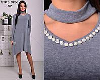Женское красивое ангоровое платье с чокером и ассиметричным низом, в расцветках