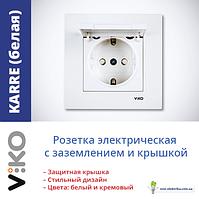 Розетка електрична VI-KO Karre прихованої установки одинарна з заземленням з кришкою (біла)