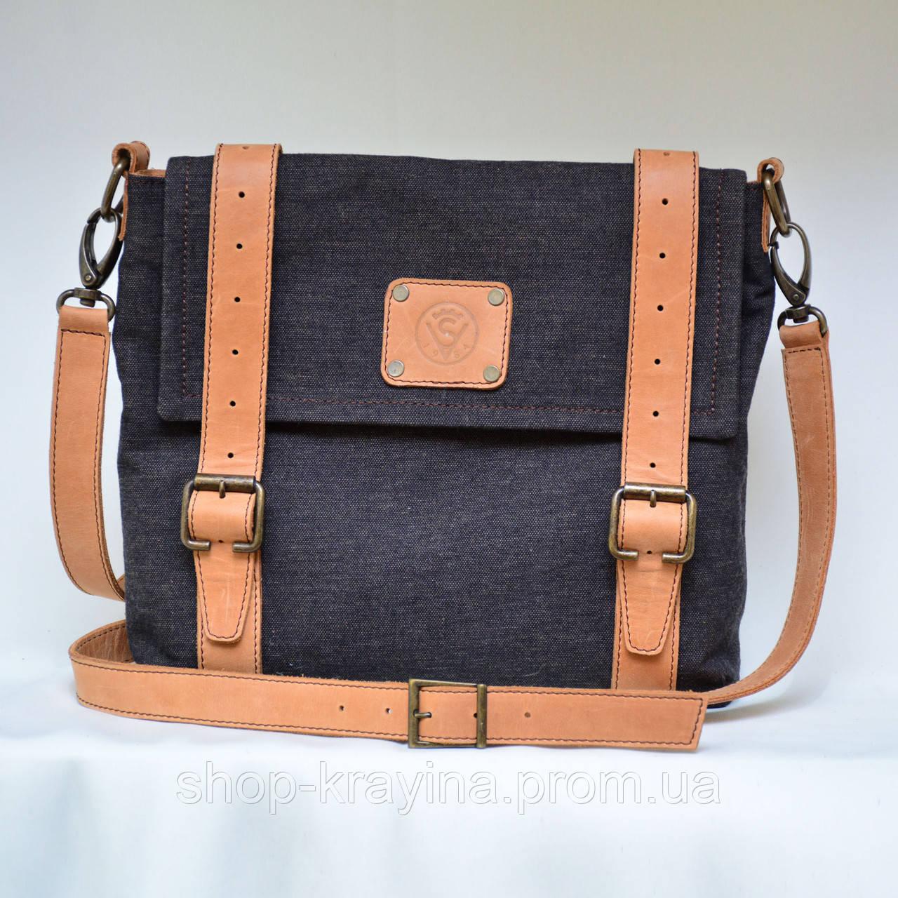 Сумка женская VS135 leather canvas 30х28х7 см