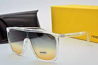 Квадратные женские очки солнцезащитные Fendi бежевые