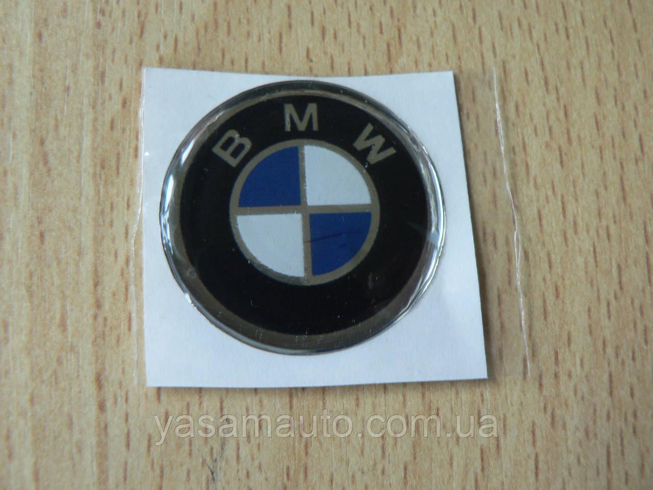 Наклейка s круглая BMW 30х30х1.2мм силиконовая эмблема логотип марка бренд в круге на авто 3М БМВ