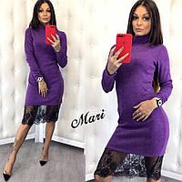 Платье-гольф теплое яркое из ангоры с кружевом по низу 4 цвета 2SMmil1847