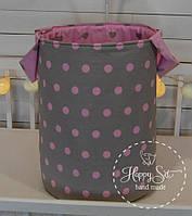 Корзинка для іграшок в сіро-рожевих тонах 1423