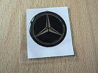 Наклейка s круглая Mercedes 30х30х1.2мм силиконовая эмблема логотип марка бренд в круге на авто Мерседес