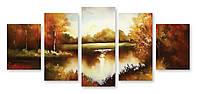 Модульная картина осень в лесу 3д