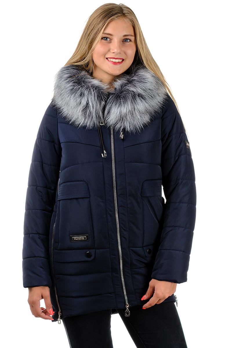Куртка на синтепоне пуховик женский зимний удлиненный с капюшоном мехом синяя темная на молнии Украина