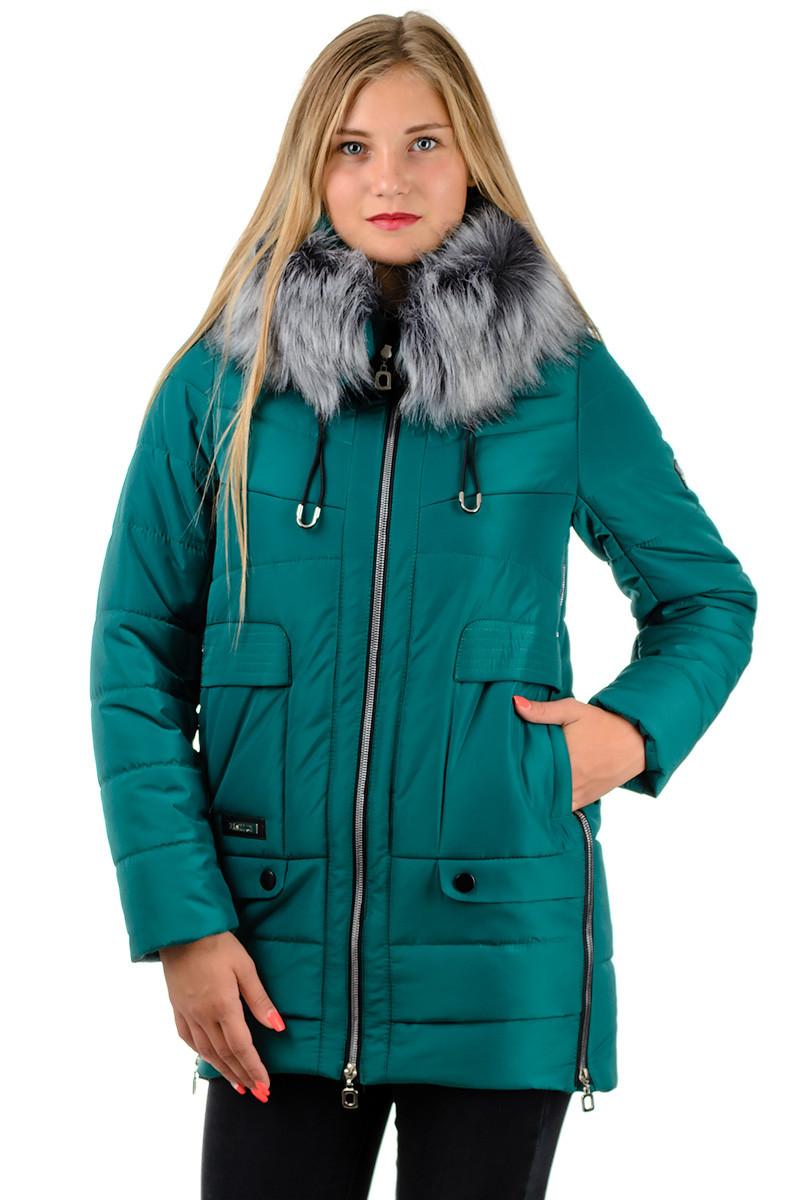 Зимовий теплий пуховик жіночий подовжений з хутром і капюшоном зелений смарагдовий на блискавці Україна