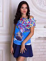 Женсая футболка с широким горлом Вверх 2009