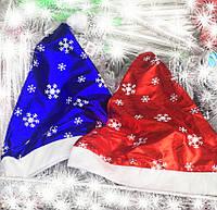 Новогодняя Шапка Деда Мороза Колпак Санта Клауса Santa Claus Снежинки Красные и Синие Упаковка 12 шт