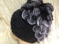 Меховая шапка из норки водопад на вязанной основе