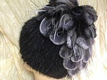 Меховая шапка из норки ондатры  водопад на вязанной основе