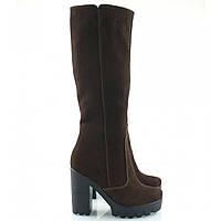 Сапоги женские замшевые на каблуке коричневые 818-09кор