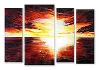 Модульная картина желто-красное небо