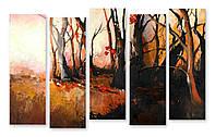 Модульная картина листья и деревья 3д