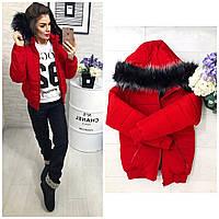 Тёплая осенне-зимняя женская куртка Memory со съёмным капюшоном на меху красная
