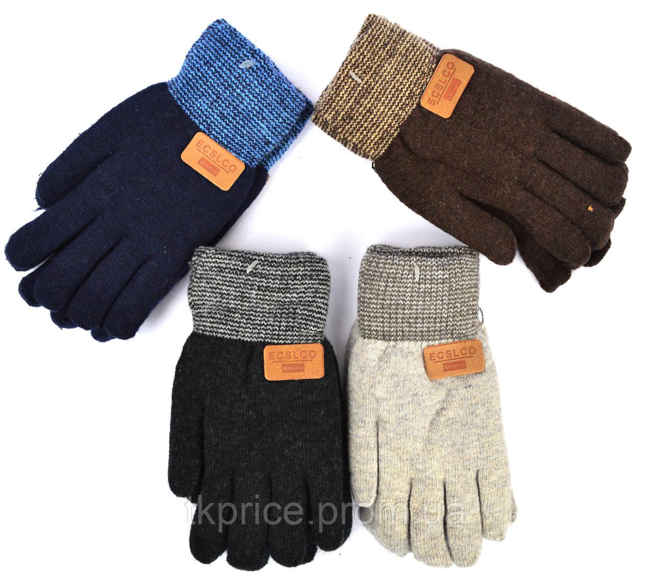 Детские шерстяные перчатки для мальчиков на меху - длина 21 см