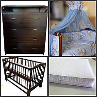 Комод детский, пеленальный+кроватка+матрас+комплект белья.