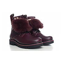 Бордовые зимние ботинки женские на шнуровке с языком из меха
