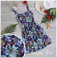 Женский джинсовый сарафан в цветы