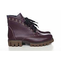 Ботинки женские зимние кожаные бордовые на шнуровке