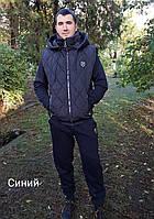Спортивный теплый костюм мужской тройка - жилет, батник, брюки, фото 1