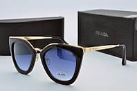 Женские очки кошачий глаз солнцезащитные Prada черные