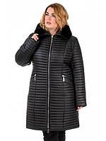 Зимнее плащевое пальто из стеганной плащевки