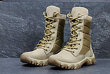 Армейские ботинки,зимние берцы нубук,на меху бежевые, фото 2