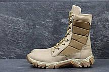 Армейские ботинки,зимние берцы нубук,на меху бежевые, фото 3