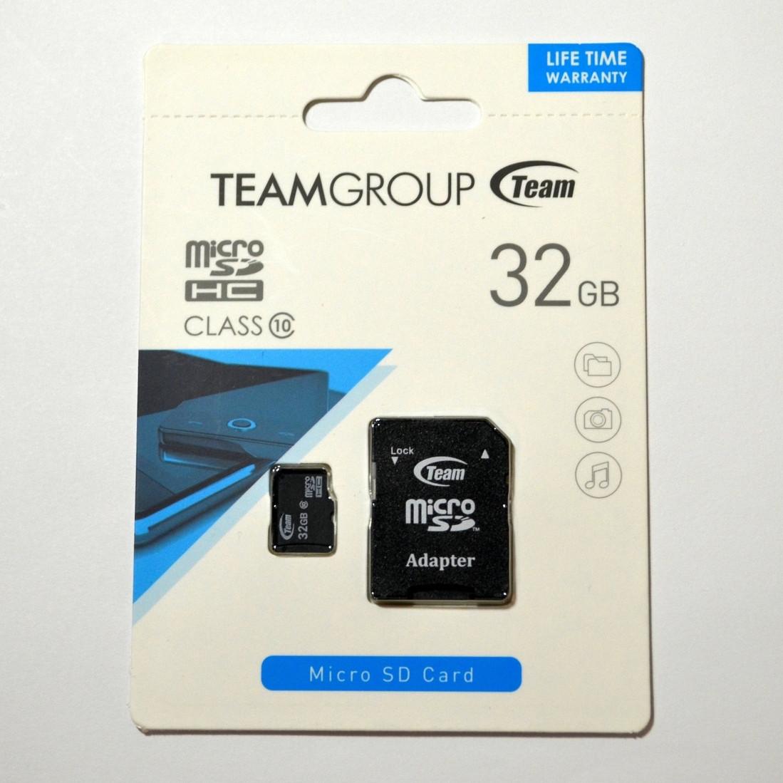 Карта памяти Team Group microSDHC 32GB Class 10 + SD адаптер (TUSDH32GCL1003)