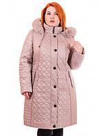 Теплое женское пальто на синтепоне с натуральным мехом