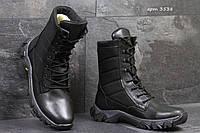 Мужские ботинки,зимние берцы натуральная кожа,черные