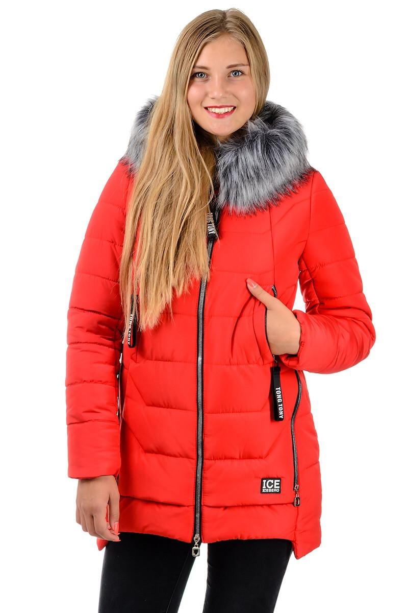 Зимняя куртка молодежная женская удлиненная с капюшоном красная на молнии Украина
