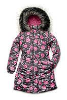 Пальто зимнее для девочки Модный карапуз принт розы р. 134