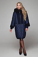 Зимнее комбинированное пальто с шерстью и мутоном 66-68р