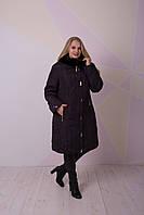 Зимнее пальто с мехом мутона